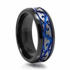 Paisley Black Titanium Ring With Blue Anodizing by Edward Mirell