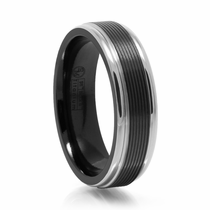 Black & Gray Titanium Ring With Grooves