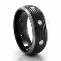 Black & Grey Titanium Ribbed Band with Diamonds