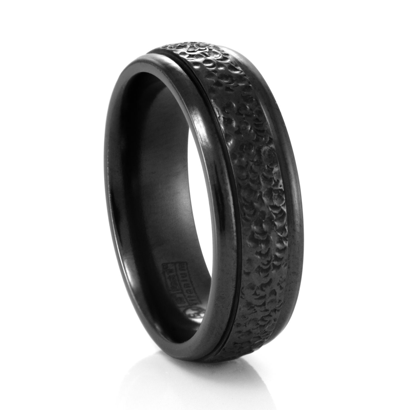 7MM Mens Hammered Finish Ring – Edward Mirell – Black Titanium Rings