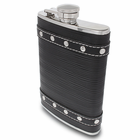 Black Studded Leather Flask