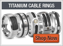 Black Titanium Cable Rings