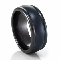Black Titanium Ridged Band by Edward Mirell