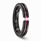 Black Titanium Ring with Pink Sapphire
