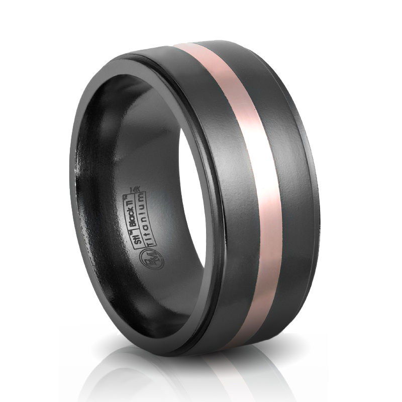 Edward Mirell Black Titanium Rose Gold Wedding Band 10MM