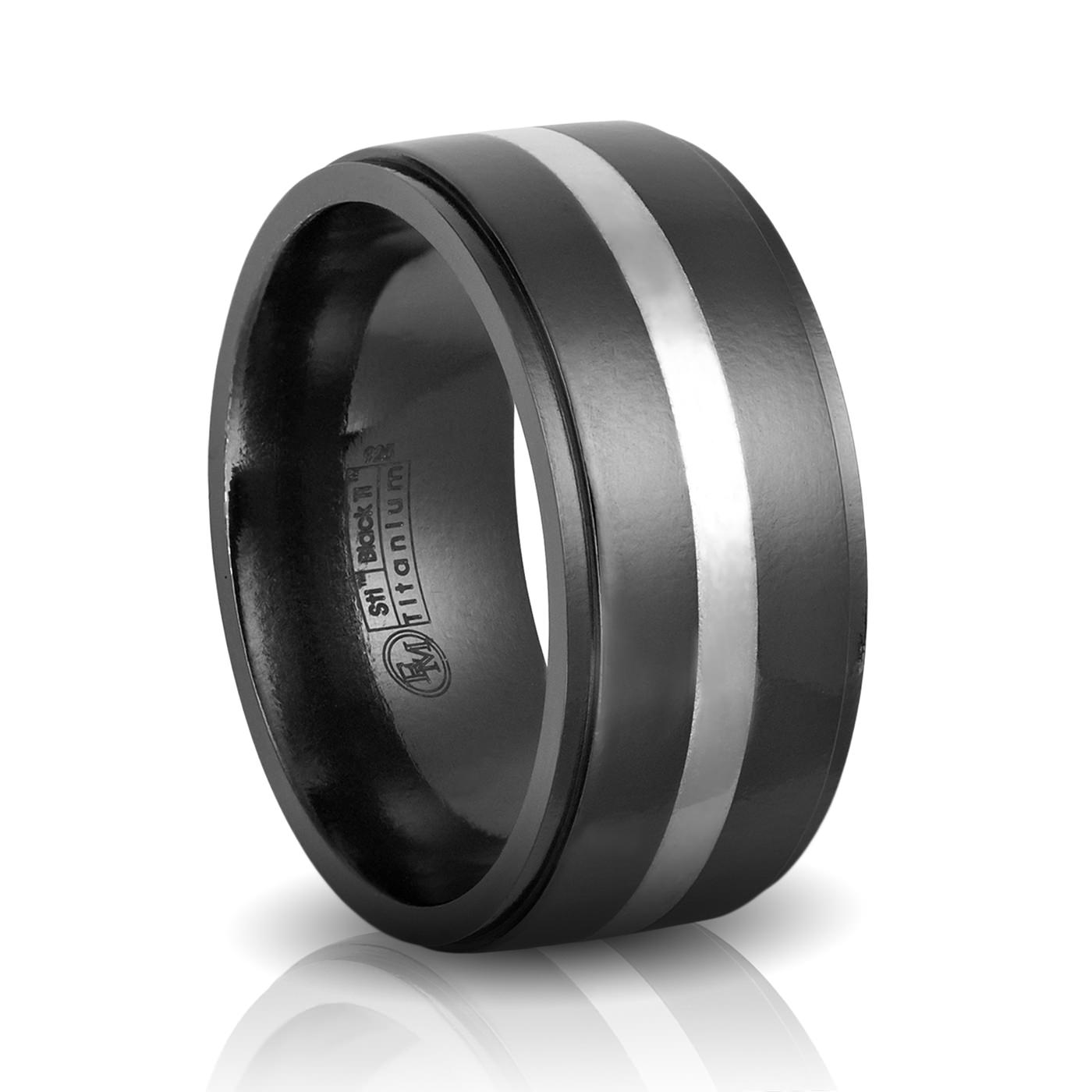 10MM Mens Black & Silver Band – Edward Mirell – Black Titanium Rings