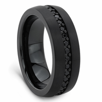 Black Tungsten Ring With Black Sapphires by Triton