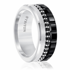 Black & White Tungsten Ring With Black Sapphires