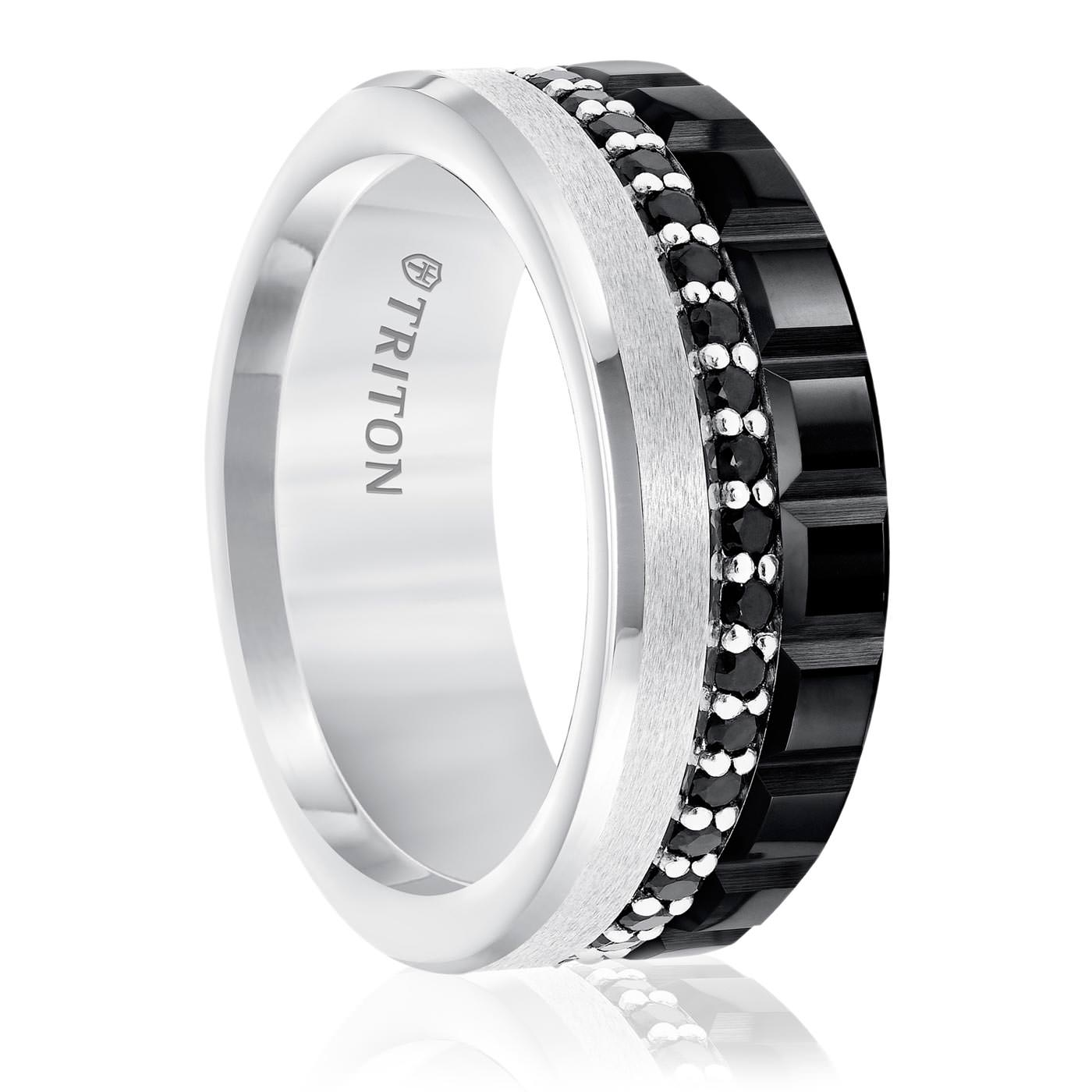 ring black band wedding and edward mirell gold with white rings titanium