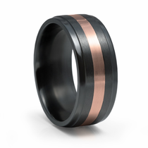 Black Zirconium and Rose Gold Ring