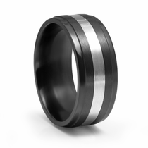 Black Zirconium and White Gold Ring