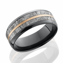 Black Zirconium Meteorite Ring with a Rose Gold Inlay by Lashbrook Designs