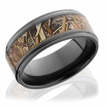 Black Zirconium Ring With Kings Field Camo Inlay