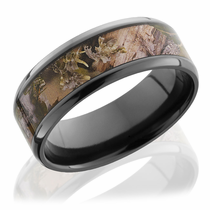 Black Zirconium Ring With Kings Mountain Camo Inlay