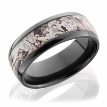 Black Zirconium Ring With Kings Snow Camo by Lashbrook