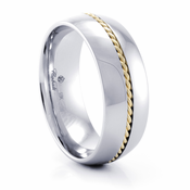 BRANAN Cobalt Chrome and 14K Yellow Gold Rope Ring by Heavy Stone Rings