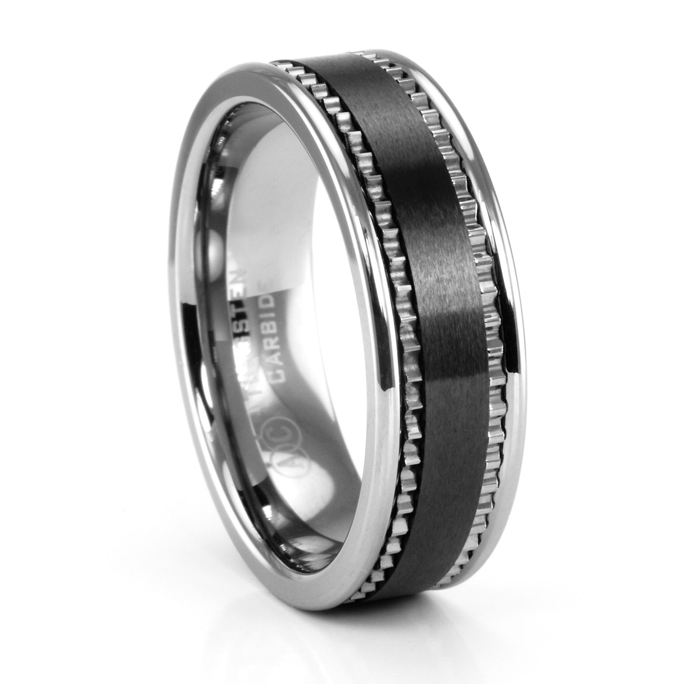 white loading ring beveled tungsten carbide band wedding zoom bands
