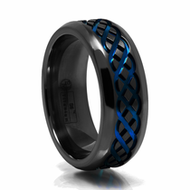 CELTIC Black Titanium Ring with Blue Anodizing