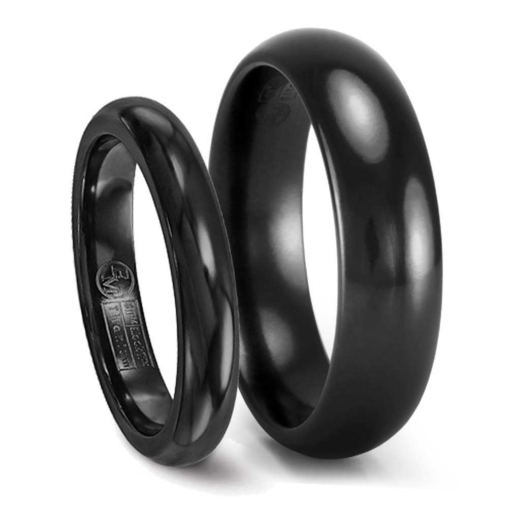 His Hers Black Titanium Wedding Band Set 6mm 4mm Matching Rings