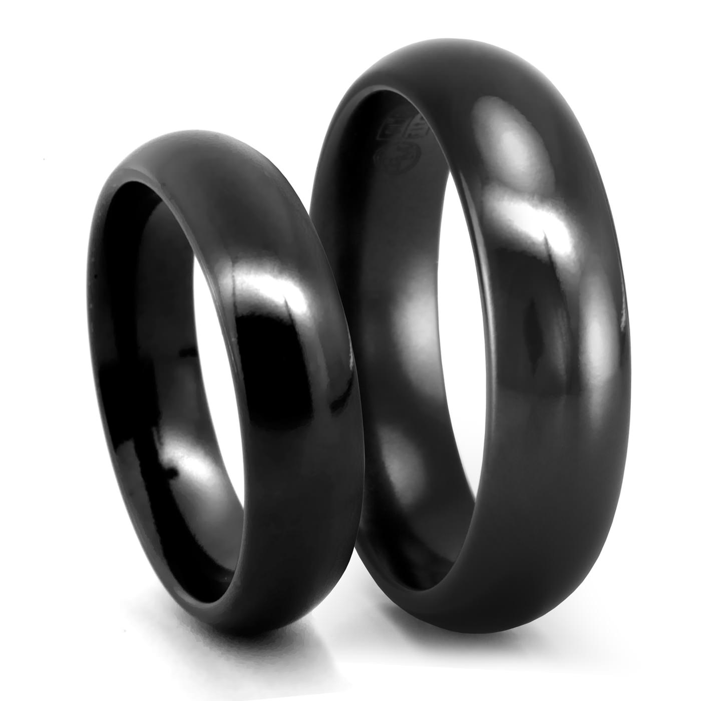 Clic Comfort Fit Black Anium Wedding Band Set 6mm Edward Mirell