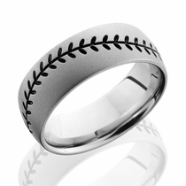 Cobalt Chrome Black Baseball Design Ring