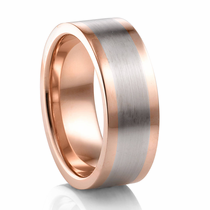 COGE 18k Red Gold and Palladium Flat Band