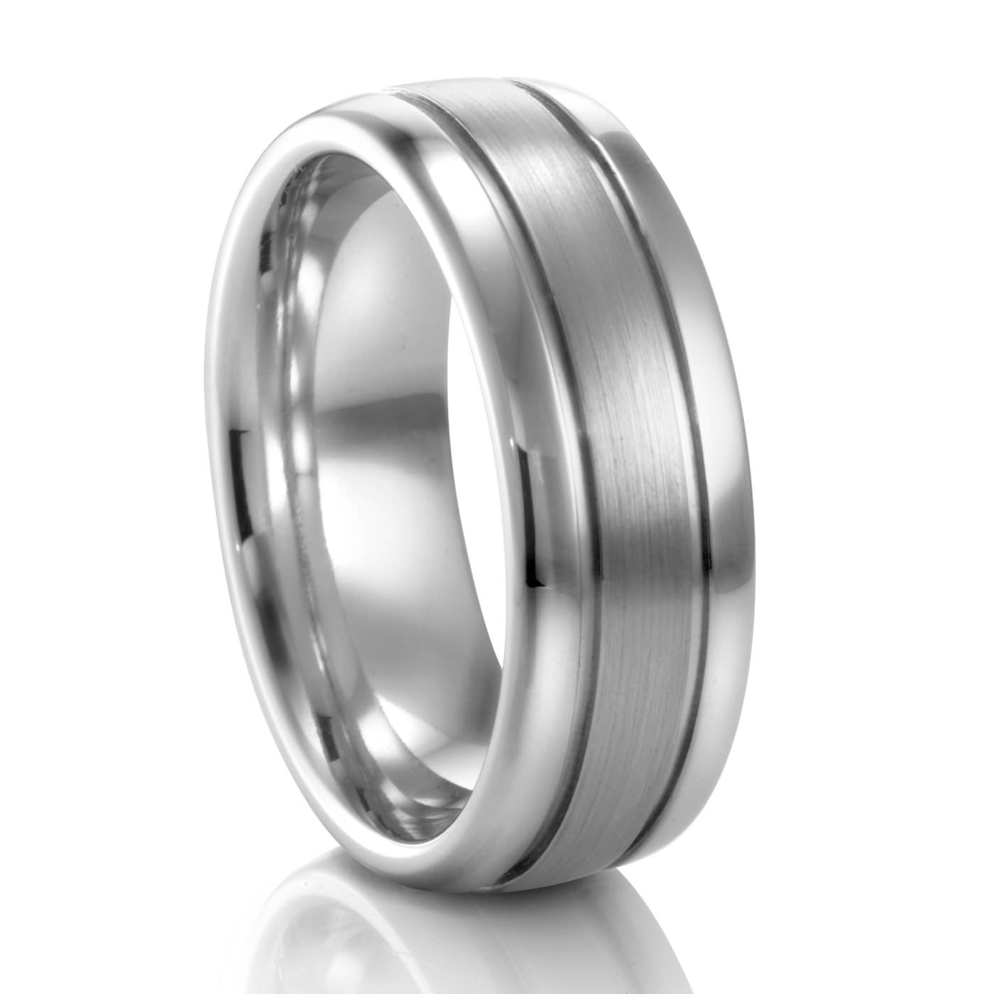 8MM Ribbed Palladium Wedding Band COGE Mens Wedding Bands