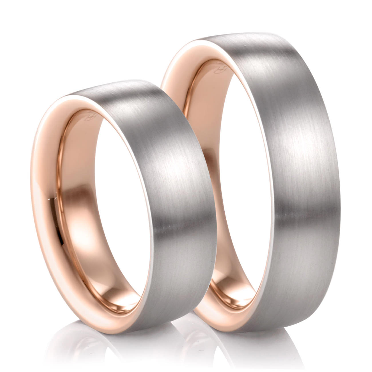 His Hers COGE Palladium Rose Gold Matching Wedding Bands