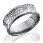 Concave Damascus Steel Ring -Zebra Pattern by Lashbrook