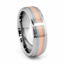 COTTA Tungsten & Rose Gold Wedding Band by TRITON