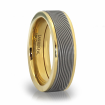 Damascus & 18K Gold Ring