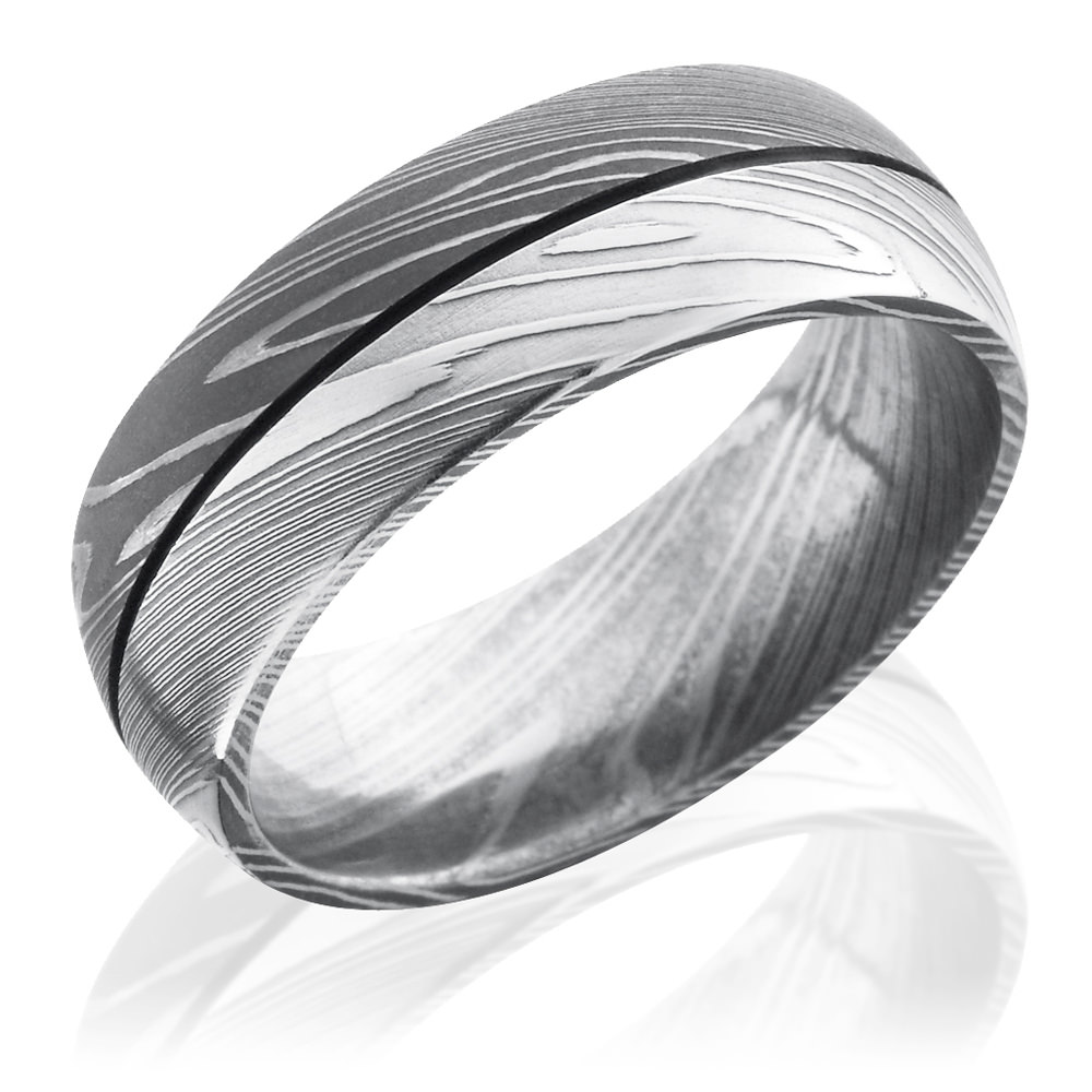 damascus steel acid bead blast finish domed ring - Black Mens Wedding Rings