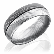 Damascus Steel Acid & Bead Blast Finish Domed Ring