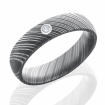 Damascus Steel and Diamond Band by Lashbrook Designs