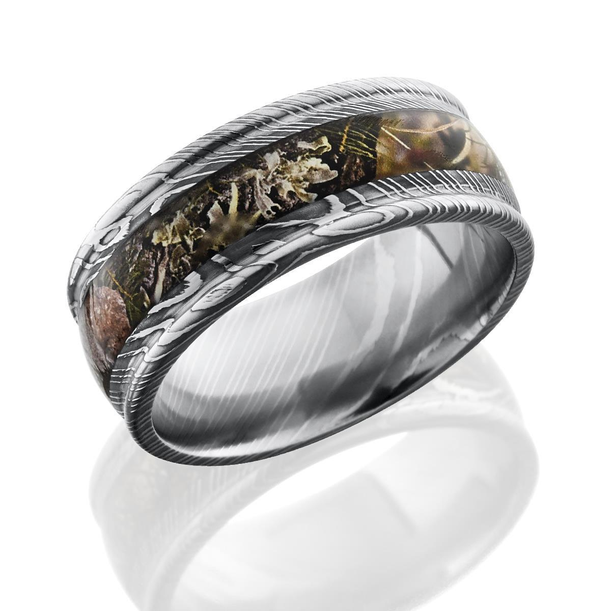 ring surface titanium leafy product wedding camo rings wood main flat bands