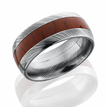 Damascus Steel and Padauk Hardwood Inlay Ring by Lashbrook Designs
