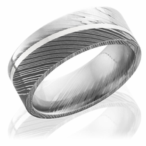Unique mens wedding bands mens wedding rings in cool materials damascus steel flat band with sterling silver inlay junglespirit Choice Image