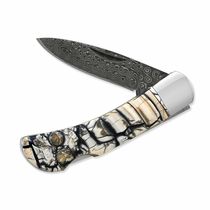 "Damascus Steel &  Mammoth Tusk 3"" Knife"