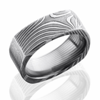 Square Damascus Steel Ring - Flat Twist - by Lashbrook