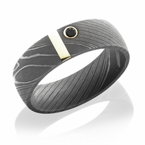 Damascus Steel Ring With 14K Gold & Black Diamond