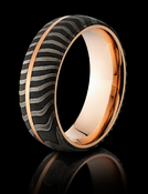 Damascus Steel 18K Rose Gold Ring by Lashbrook