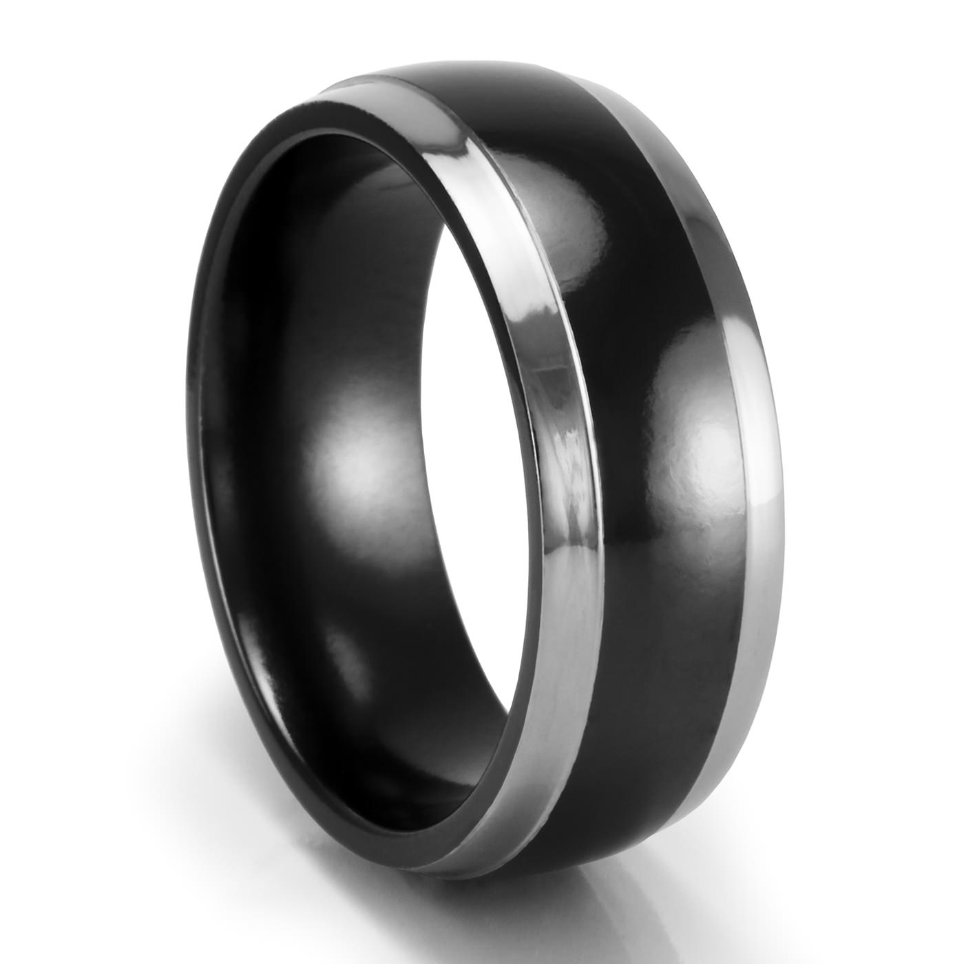 8mm dayton black & grey band – edward mirell – black titanium rings