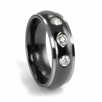 EDWARD MIRELL Black Titanium Band with Diamonds