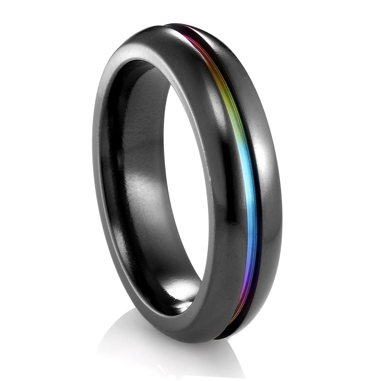 edward mirell rainbow black titanium ring 6mm - Rainbow Wedding Rings