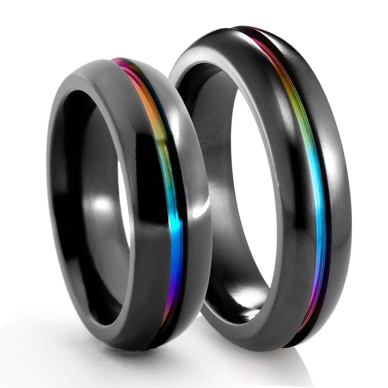 edward mirell matching rainbow inlay rings 6mm - Rainbow Wedding Rings