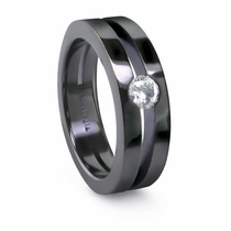 EDWARD MIRELL Black Titanium Ring Split Band & Diamond