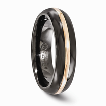 Edward Mirell Black Titanium Ring with 14kt Rose Gold Inlay