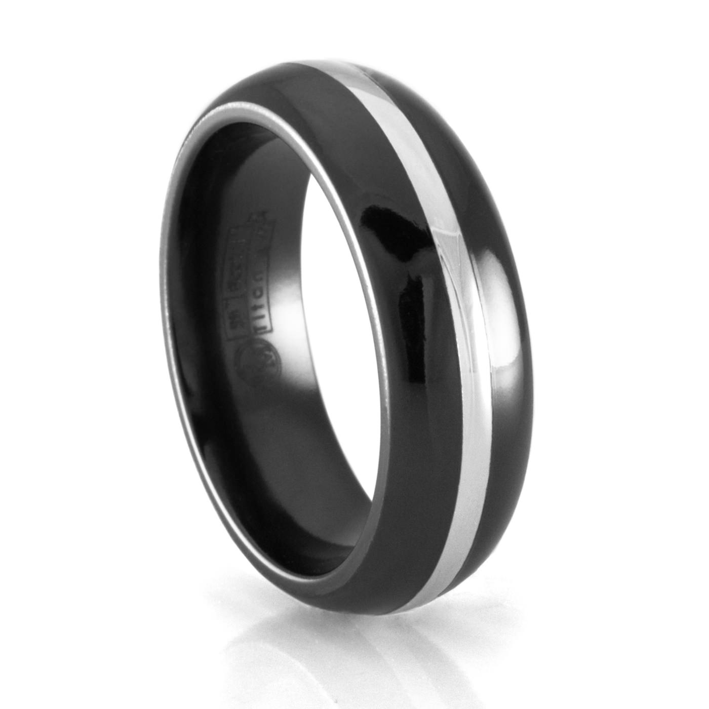 Edward Mirell Black Titanium and White Gold Wedding Band