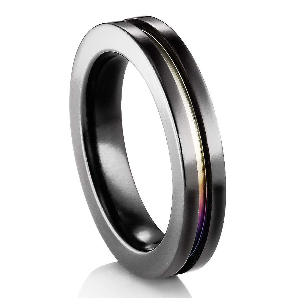edward mirell black titanium ring with rainbow anodized groove - Rainbow Wedding Rings