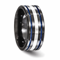 Edward Mirell Black Titanium Ring with Sterling Inlay and Blue Anodizing